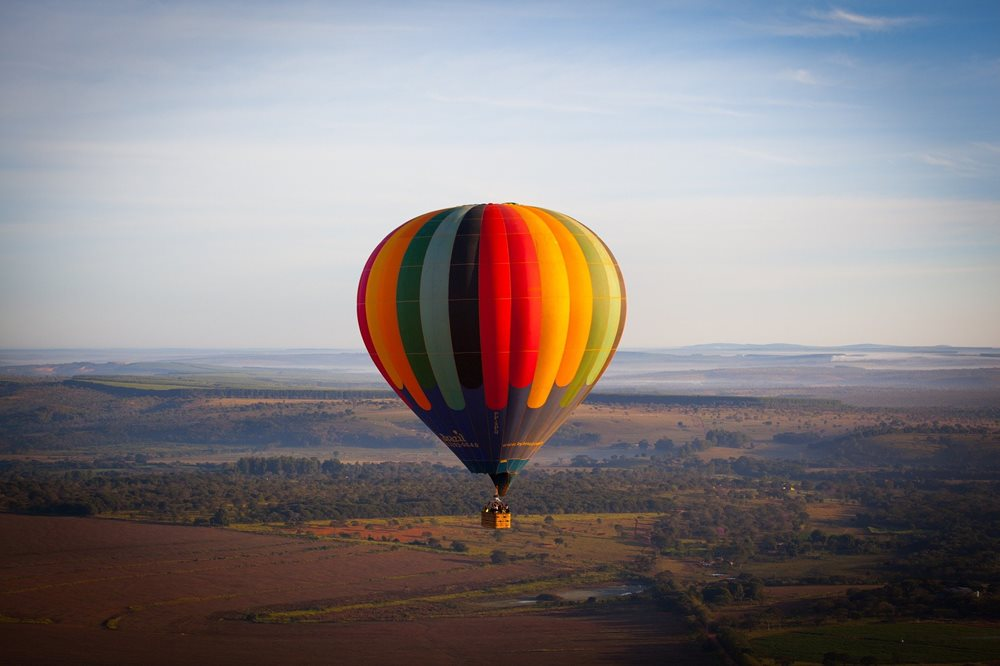 Air balloon flight over the East Moravia