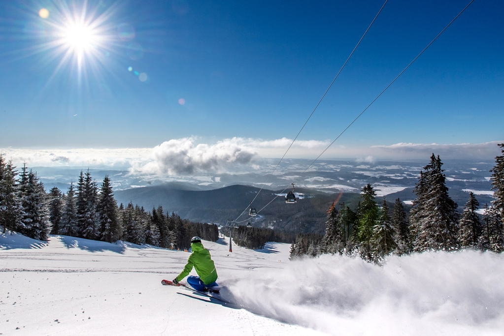 Winter skiing in Czech mountains